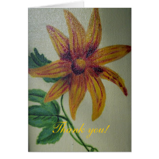 Thank You Yellow Flower Painting Greeting Card
