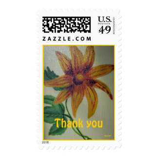 Thank You Yellow Flower Painting Stamp