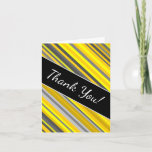 "[ Thumbnail: ""Thank You!"" + Yellow & Gray Stripes Pattern Card ]"