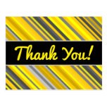 "[ Thumbnail: ""Thank You!"" + Yellow & Gray Stripes Pattern Postcard ]"
