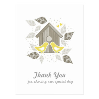 thank you yellow kissing birds postcard