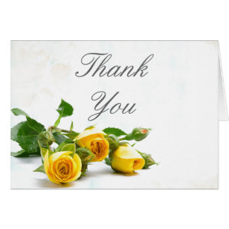 Thank you yellow rose wedding note card