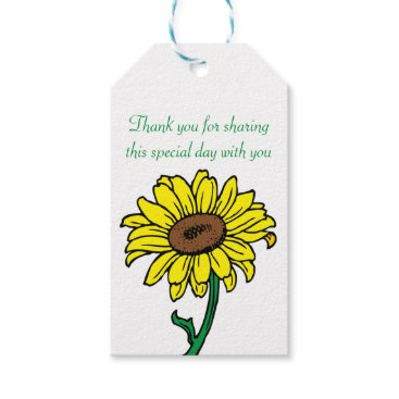 Beach Themed Thank You Yellow  Sunflower Green Wedding Gift Tags