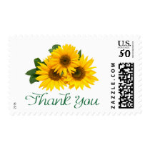 Thank You Yellow Sunflowers Floral  Postage Stamps