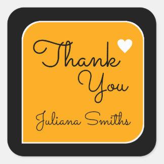 thank you / yellow thanks square sticker