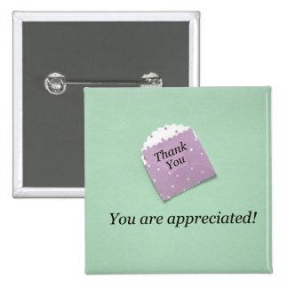 Thank You, you are appreciated! 2 Inch Square Button