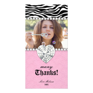 Thank You Zebra Lace Pearls Jewel Sweet 16 Card