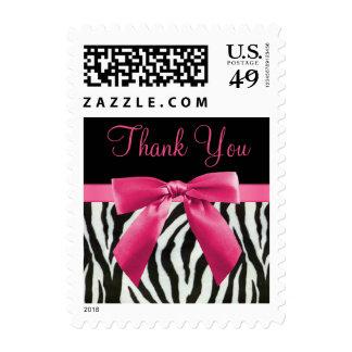 Thank You Zebra Stripes & Hot Pink Bow Wedding Postage Stamp