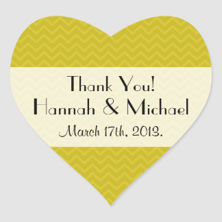 Thank You - Zigzag (Chevron), Stripes - Yellow Heart Sticker