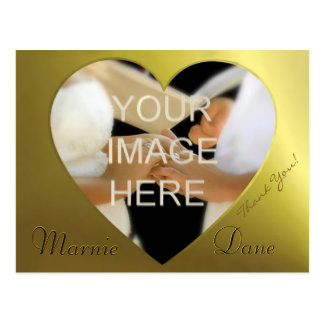 Thank Your Postcard  Green Golden Heart Collection