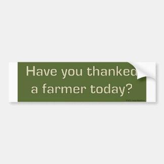 Thanked a farmer bumper sticker car bumper sticker