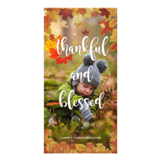 Thankful and Blessed Autumn Thanksgiving Photo Card