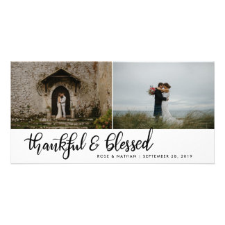 Thankful And Blessed Handwritten Two Photos Card