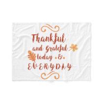 thankful and grateful thanksgiving fleece blanket