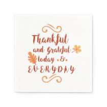 thankful and grateful thanksgiving paper napkin
