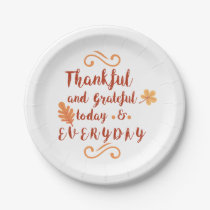 thankful and grateful thanksgiving paper plate