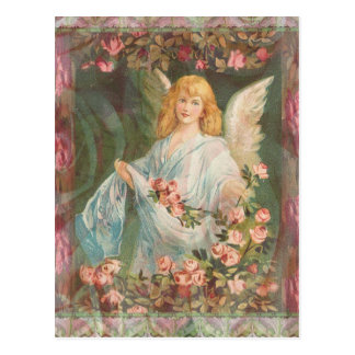 Thankful - Angel with Roses Postcard