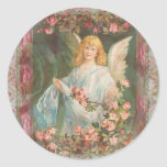 Thankful - Angel with Roses Round Sticker