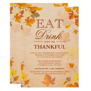Thankful Autumn Leaves Thanksgiving Dinner Party Card at Zazzle