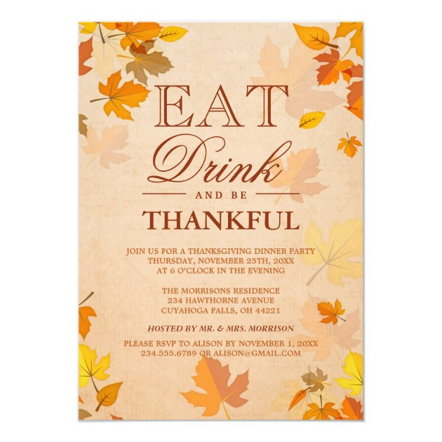 Thankful Autumn Leaves Thanksgiving Dinner Party Card (back side)