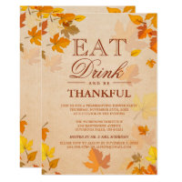 Thankful Autumn Leaves Thanksgiving Dinner Party Invitation
