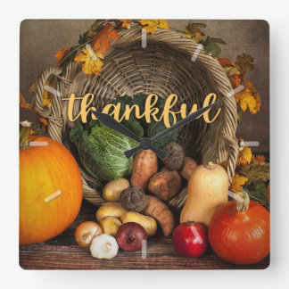 Thankful Basket of Plenty Thanksgiving Square Wall Clock