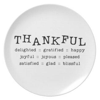 THANKFUL DELIGHTED GRATIFIED HAPPY JOYFUL JOYOUS P DINNER PLATES