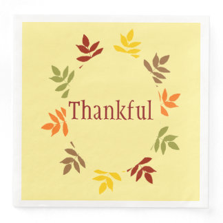 Thankful Fall Leaves Thanksgiving Napkins