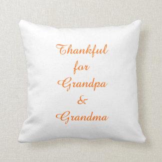 """Thankful for Grandpa & Grandma"" Throw Pillow"
