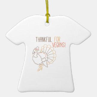 Thankful For Vegans Double-Sided T-Shirt Ceramic Christmas Ornament