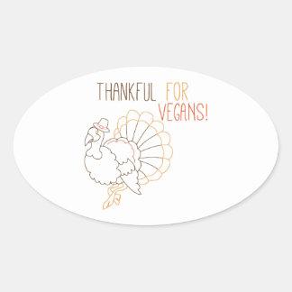 Thankful For Vegans Oval Sticker