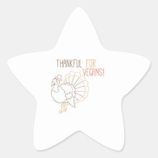Thankful For Vegans Star Sticker