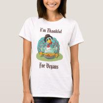 Thankful for Vegans Thanksgiving Holiday Turkey T-Shirt