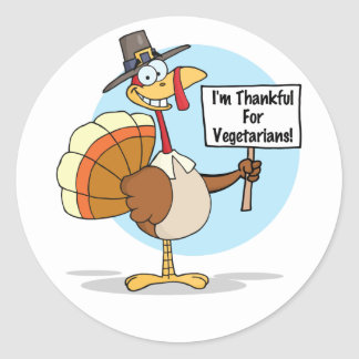 Thankful for Vegetarians Stickers