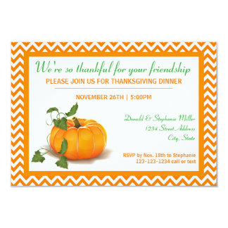 Thankful for your Friendship - 3x5 Dinner Invite