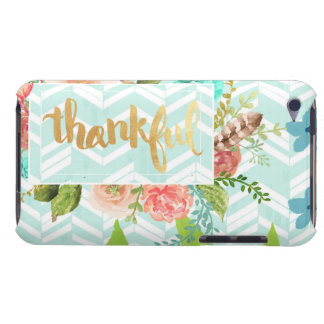thankful,gold,typography,modern,girly,cute,floral, barely there iPod cases