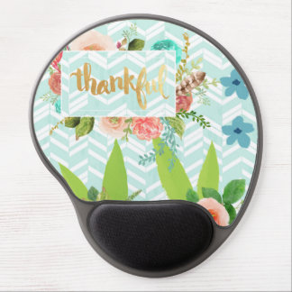 thankful,gold,typography,modern,girly,cute,floral, gel mouse pad