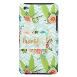 thankful,gold,typography,modern,girly,cute,floral, iPod Case-Mate case