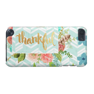 thankful,gold,typography,modern,girly,cute,floral, iPod touch (5th generation) cover
