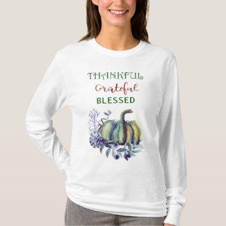 """""""Thankful Grateful Blessed"""" Autumn Pumpkin T-Top T-Shirt"""