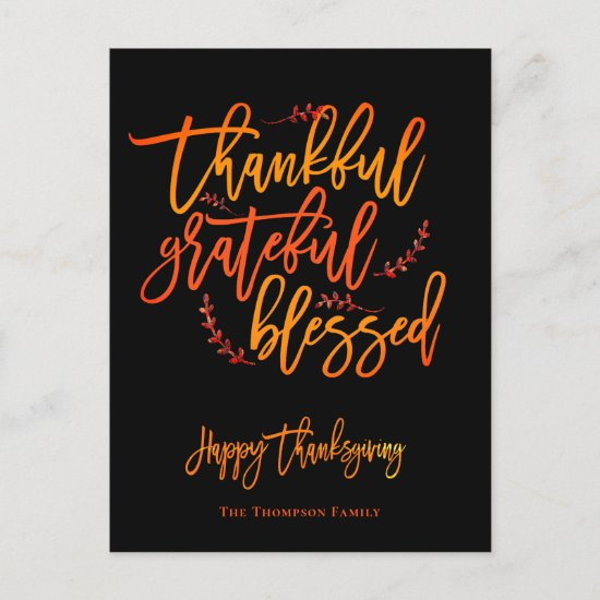 Thankful Grateful Blessed Happy Thanksgiving Name Holiday Postcard