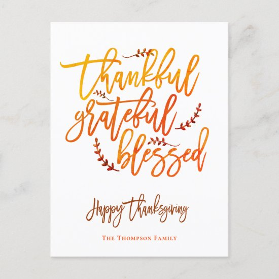 Thankful Grateful Blessed Happy Thanksgiving White Holiday Postcard