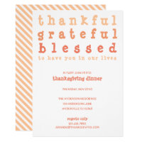 Thankful Grateful Blessed Striped Thanksgiving Invitation