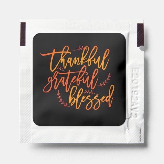 Thankful Grateful Blessed Thanksgiving Favors Hand Sanitizer Packet