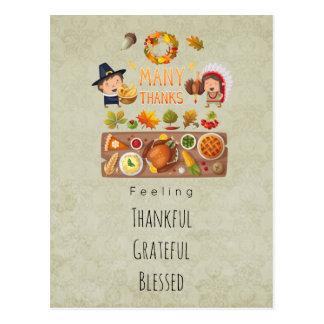 Thankful Grateful Blessed Thanksgiving Greetings Postcard