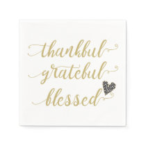 thankful grateful blessed thanksgiving holiday paper napkin