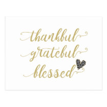 thankful grateful blessed thanksgiving holiday postcard