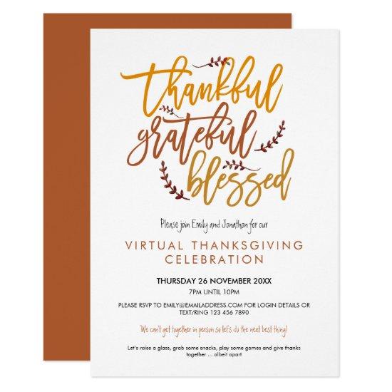 Thankful Grateful Blessed Virtual Thanksgiving Invitation