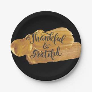Thankful & Grateful Faux Gold Paint Thanksgiving Paper Plate