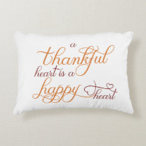 thankful heart is a happy heart thanksgiving accent pillow